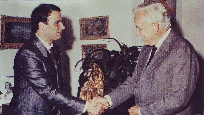Avi Kenan with HSH Prince Rainier - Palace Monaco - 1987